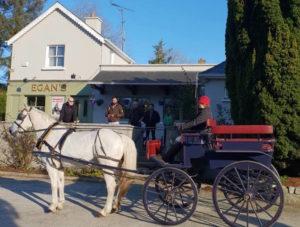 Wagonette outside the local pub - Egans of Parkbridge